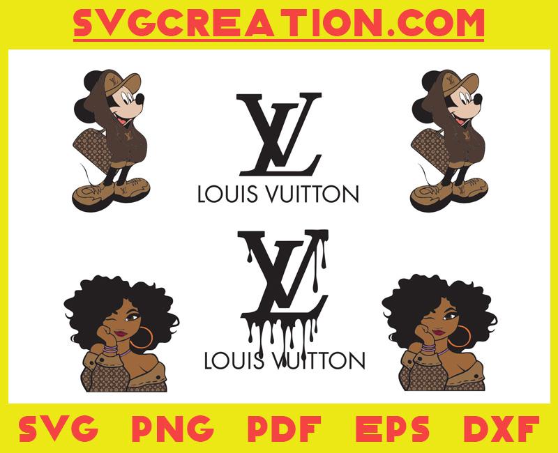 Fashion Logo Mickey Black Girl Svg Bundle, File For Cricut, For Silhouette, Cut File, Dxf, Png, Svg, Digital Download (Copy)