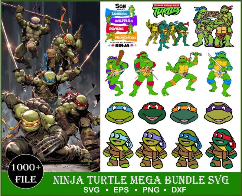 1000+ Ninja turtles svg, png, eps, dxf bundle for cricut and print, disney svg, cartoon clipart, ninja turtle clipart