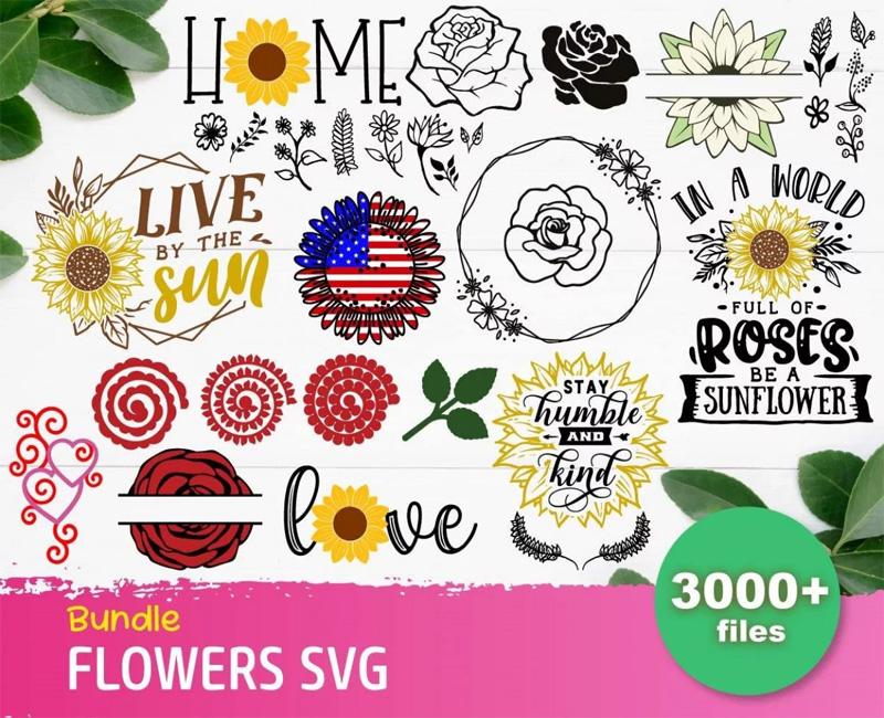 Flowers Svg 3000+ Bundle, Flowers Cricut, Flowers Clipart