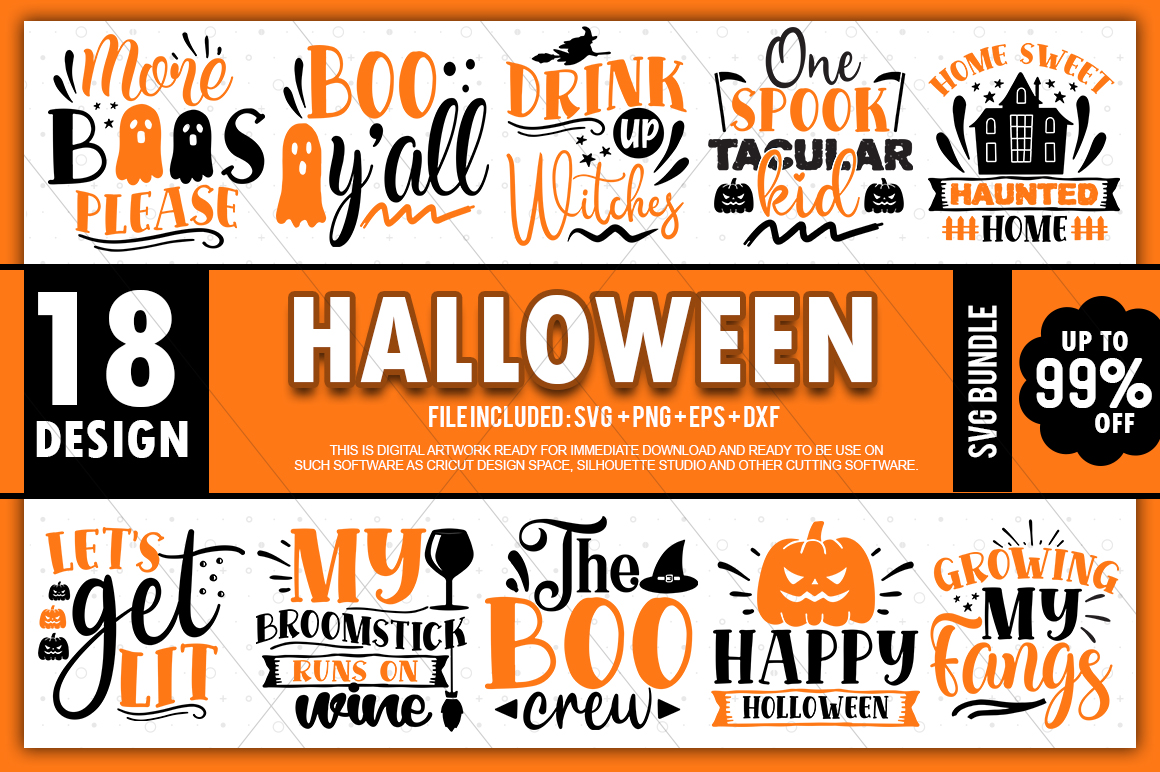 18 Halloween SVG Bundle, Halloween Vector, Witch Svg, Ghost Svg