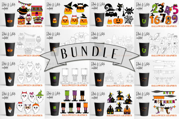 Halloween Number Set Clipart, Digital Clipart Png Format