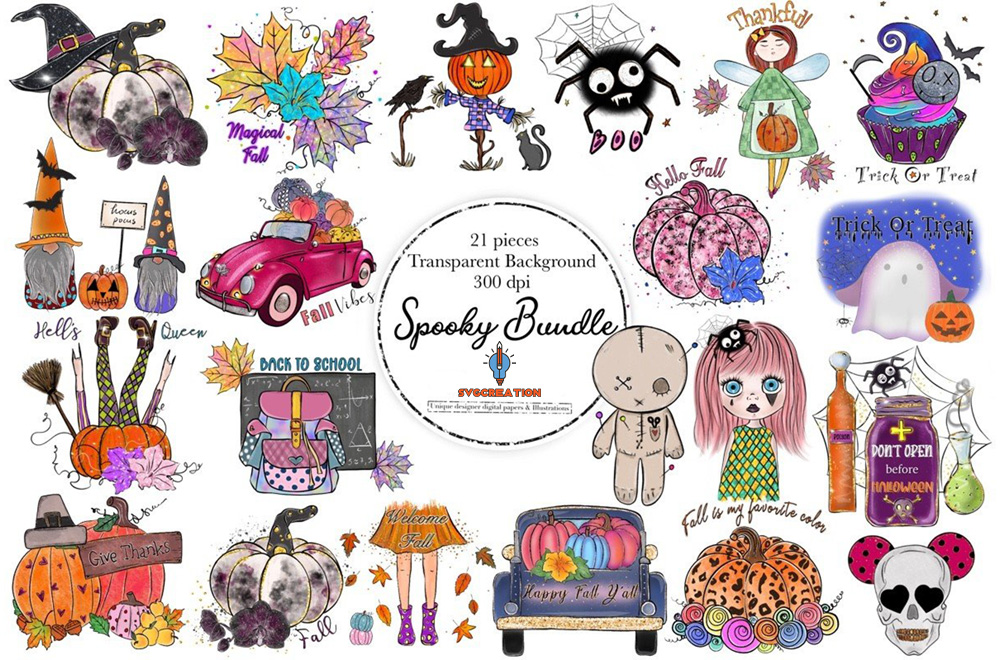 Spooky Halloween Bundle PNG, Creepy Doll, BOO, Which, Spider