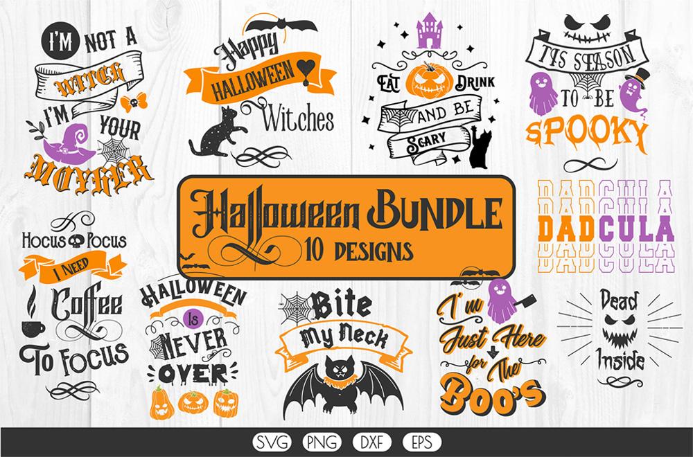 10 Halloween Svg Bundle, Halloween Vector, Sarcastic Svg, Silhouette
