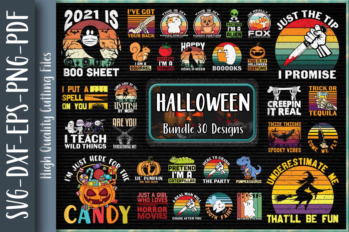 30 Halloween Bundle, Halloween Vector, Sarcastic Svg, Silhouette