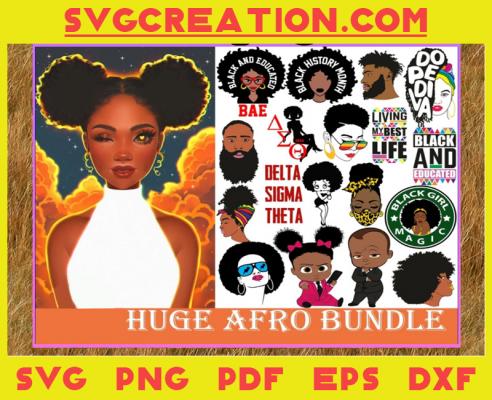 Huge Afro Svg Bundle, Black Girl Svg, Black Girl Magic