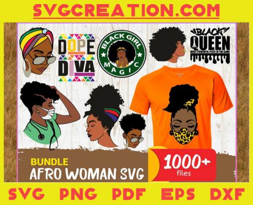 1000 Files Bundle Afro Woman Svg, Black Girl Svg, Black Girl Magic