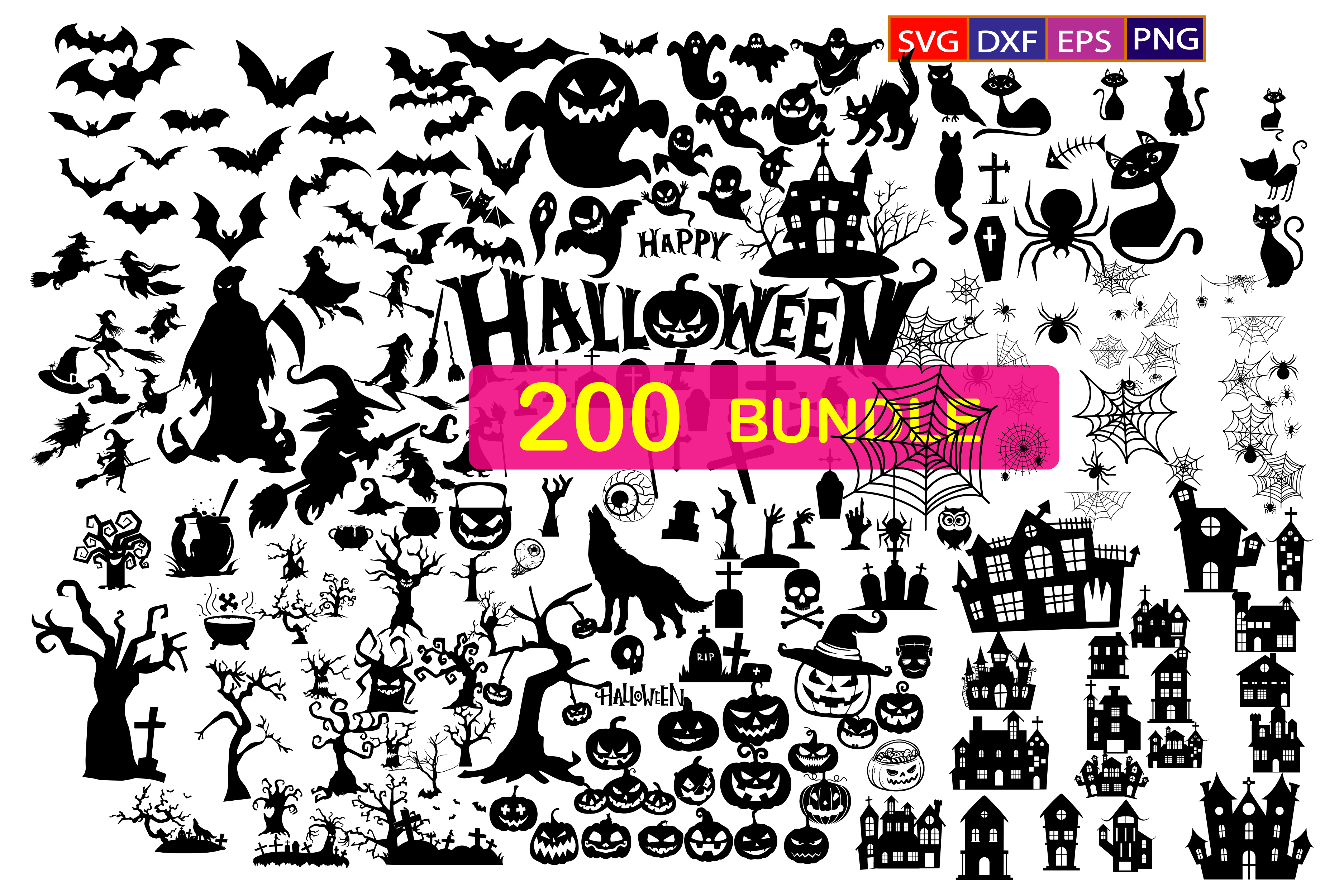 200 Halloween Bundle, Halloween Vector, Sarcastic Svg, Silhouette